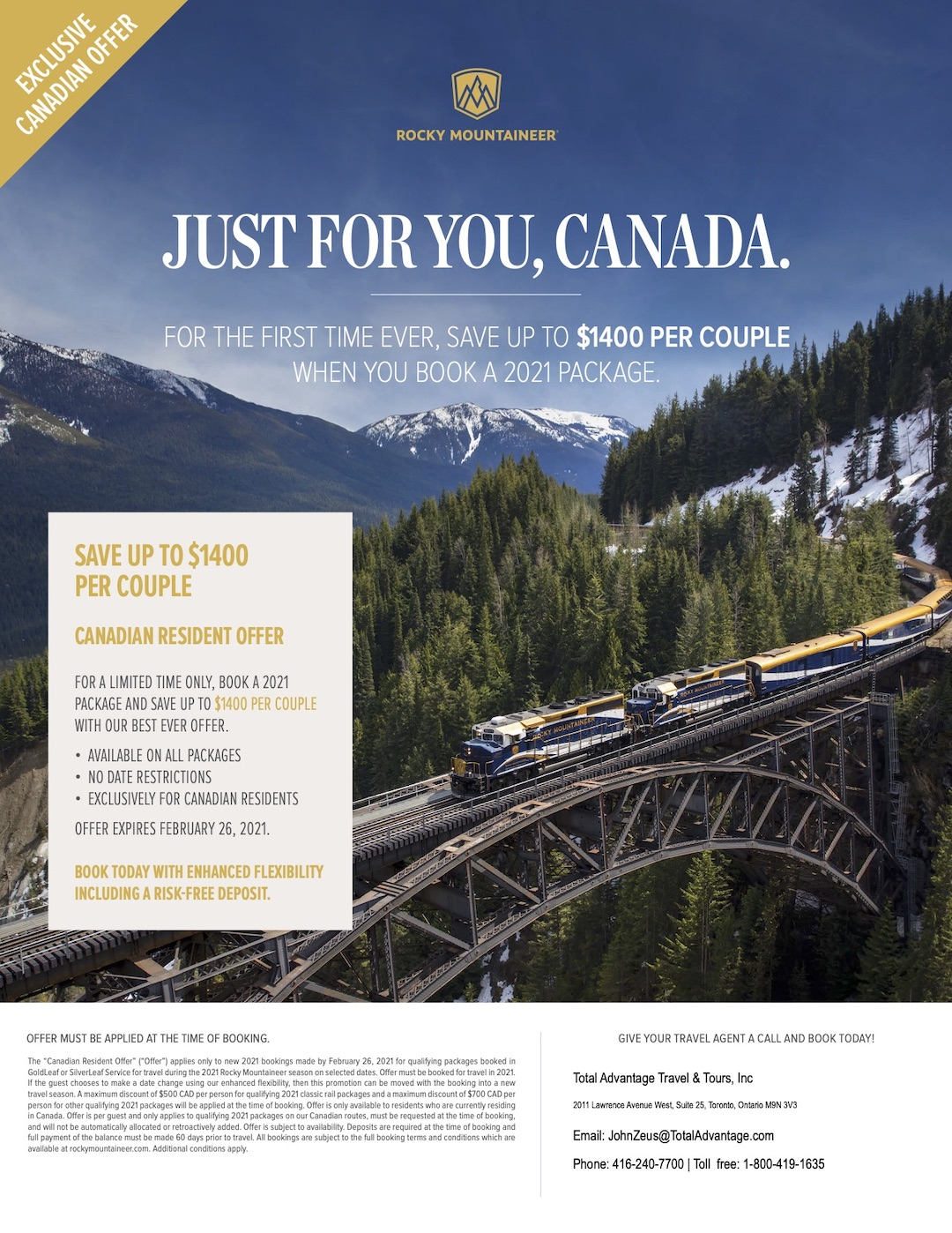Just for you Canada - Rocky Mountaineer Canadian Resident Offer