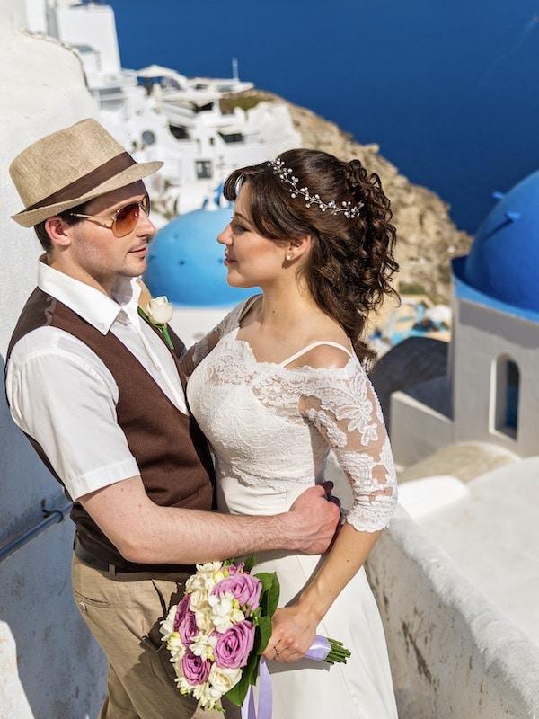 Destination Weddings - Greece - Santorini - Bride and Groom