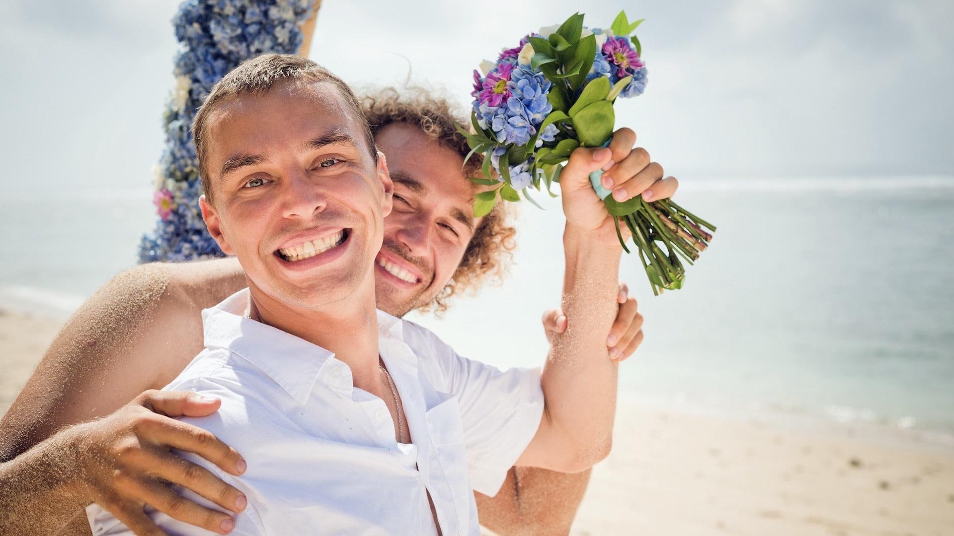 Gay Wedding Abroad - Gay couple on beach